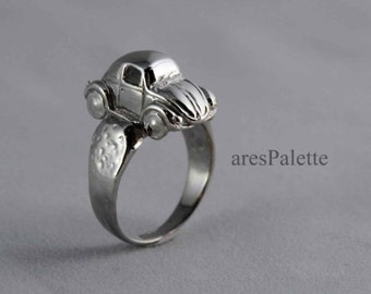 Volkswagen Beetle Ring - 925 Silver Handmade VW Jewellery / White Gold Plated - International Free Standart Shipping and Special Gifts