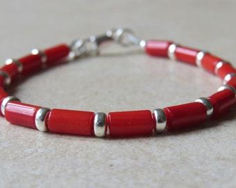 Red Coral & Silver Bracelet