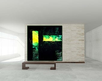 Abstract XXL Black &  green  large contemporary art handpainted heavy texture modern canvas acrylics painting