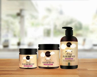 Baby Bath Gift Set - All Natural Organic Bath Soak, Baby Wash, Baby Body Cream & Baby Washcloth
