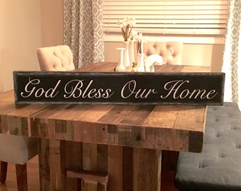 God Bless Our Home Sign, rustic wood sign, rustic wall decor, farmhouse sign