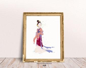 Mulan Disney Princess. Watercolor Mulan Art. Poster Disney Mulan. Nursery Decor. Print for baby girls bedroom. Disney Watercolor Art