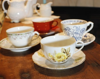 Tea Party Set of Coordinating Cups and Saucers -001