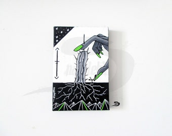 Cactus hand ant roots - original surreal acrylic painting - black and white - gray - lime green - small artwork wall home art decor gift