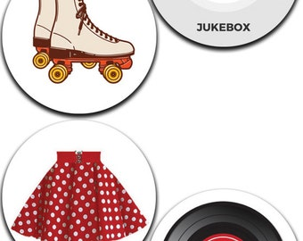 A Pack of 4 50's Rock 'N'Roll Pattern weights