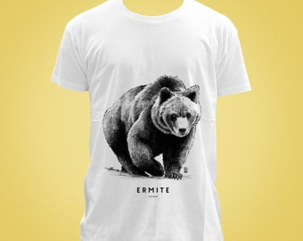 Organic cotton t-shirt: ours ERMITE (hermit, loner, recluse, wild, untamed, savage, lout) animal totem 2015 illustration