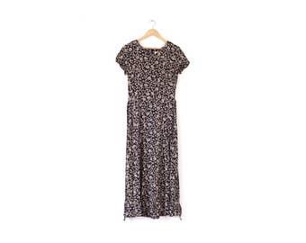 Vintage floral maxi dress / 90s navy and beige long dress / Petite tie back dress / Pretty patterned maxi dress / Short sleeve long dress