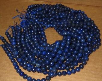 Blue Lapidas 8 MM Round Smooth 15 1/2 inc Strands