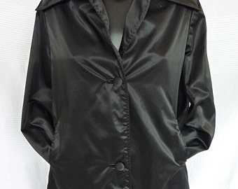 Satin black raincoat - 90s - Ford and sons - size 38 (Size M)