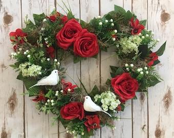 Valentines heart, wedding gift,  mothersday gift, heart wreath