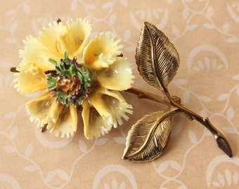 Vintage Porcelain and Brass Yellow Flower Brooch