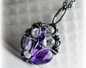 Wire Wrapped Necklace Amethyst Wire Wrapped Necklace Statement Necklace Handmade Gift for Her Handmade Jewelry Emily Gray for Blissaria