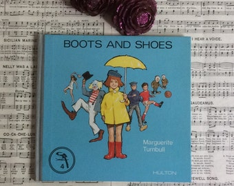1970s Vintage retro childrens book, Boots And Shoes, educational book, full of colour illustrations. Very funky.
