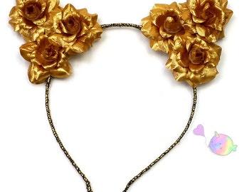 Gold flower cat ear headband, flower kitty headband, flower cat ears, cat ear headband, cat ears headband, flower crown, gold cat ears