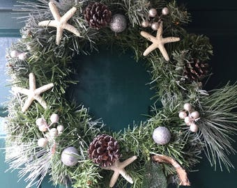 Beach decor. Beautiful winter nautical wreath.This arificail wreath is great as it can be used year after year.