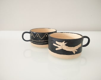 Handmade set of 2 Wheel Thrown Short Decorated Mugs in Black