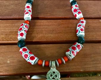 Ethiopian Cross and African Trade Bead Necklace