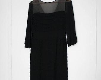 SALE 1960s Bell Sleeve 100% Silk Sheath Dress Size 4 Vintage