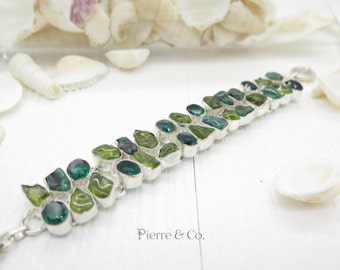 Green Tourmaline and Emerald Quartz Sterling Silver Bracelet