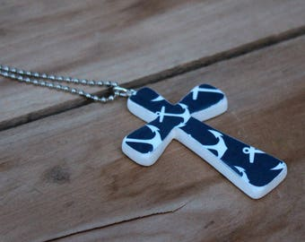 Nautical Necklace, Wood Cross Necklace, Anchor jewelry, White and Navy, Anchor Cross, Wooden Cross, Wood Cross pendant, Decoupage cross