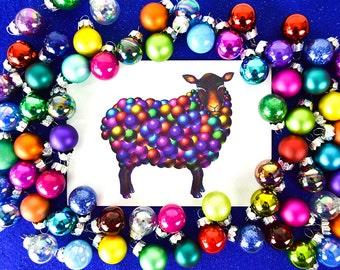 "Christmas Card Pack ""Baables"" Christmas Card Set-Christmas Cards Funny Animals-Christmas Baubles Sheep Cards-Xmas Card Pack-Holiday Card Set"
