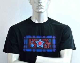 Stars and Stripes Shirt - American Flag - Custom T-shirt - Scottish Tartan  - Alternative Clothing