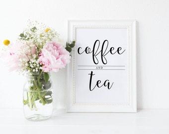 Coffee and Tea Sign, Coffee Sign, Tea Sign, Printable Coffee Bar Sign, Printable Wedding Sign, Printable Coffee Bar Sign