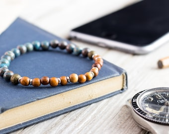 6mm - Blue crazy lace agate and sandalwood beaded stretchy bracelet, gemstone bracelet, mens bracelet, womens bracelet, natura bracelet