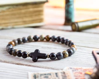 6mm - Picasso stone beaded stretchy bracelet with black cross, made to order bracelet, mens bracelet, beaded bracelet