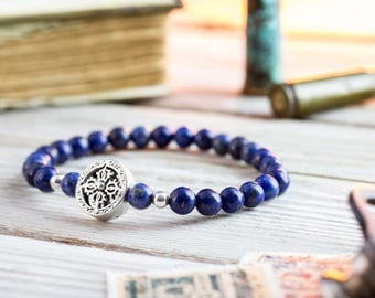 6mm - Blue Lapis lazuli beaded stretchy bracelet with sterling silver beads, made to order mens beaded bracelet, mens bracelet
