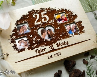 Anniversary photo album Wood Photo Album Wedding present  Custom Scrapbook Album Wooden Photo book Wedding gift Personalized Album