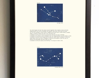 Personalised wedding anniversary gift couples constellation astrological print. Wedding vows love poem typewritten. Wedding anniversary gift