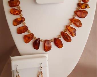 Baltic Amber and Swarovski Crystal