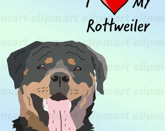 Rottweiler Clip Art, Custom Illustration, Unique Handmade Dog Art, High Resolution, Dog Breed Clip Art, Dog Illustration, Pets, Cats, Animal