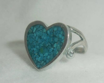 Vintage Turquoise/Coral Heart Ring