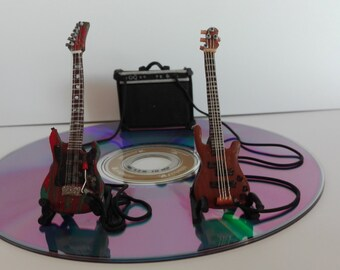 Home decor. Gift idea. Electric guitar, electric bass, amplifier. Unique gift for guitarist, bassist. Love music