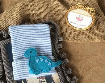 Hospital Newborn blue dinosaur Beanie, free gift wrap, blue striped hat, Newborn, teal dinosaur, shower gift, Hospital Hat