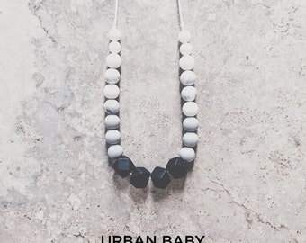 Silicone Teething Necklace, Teething Necklace, Chew Necklace, Food Grade, Chewelry, Charlotte, Licorice, Black, Gray, White