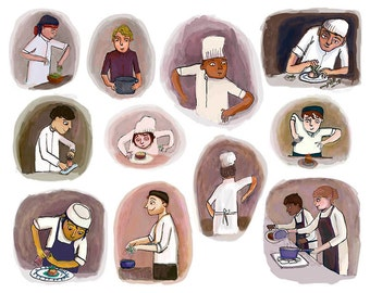 Giclee art print - Chef's at work – illustrated wall art - perfect for your kitchen