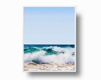 Ocean Wave Surf Print, Ocean Wave Print, Coastal Wall Art, Ocean Wave Printable Download, Surf Print Art, Blue Ocean Art Print,