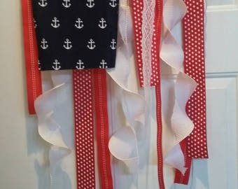 American flag in ribbons