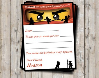 Ninja thank you card personalized with your child's name - digital / printable DIY