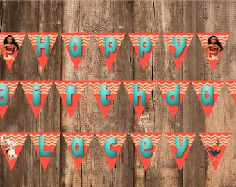 Digital Files for Moana Birthday Supplies -- Banner, Centerpieces, Cupcake Pics, & Labels -- DIGITAL PDF FILES