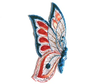 Butterfly Applique, 1930s vintage embroidered applique. Vintage patch, sewing supply. Applique, Crazy quilt. #6A7GB8KF