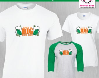 St. Patrick's Day Shirt Big Irish Jugs Design | St Pattys Day Shirts | Funny Shirts | Raglan