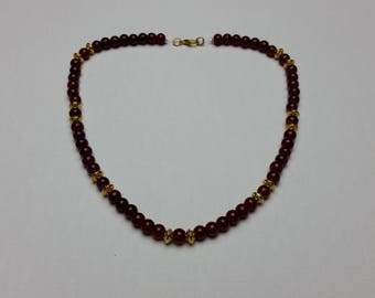 Deep Red Bead Necklace