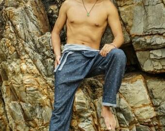 REVERSIBLE Thai Fisherman Pants Capri / Thai Pants / Harem pants / Samurai Pants / Yoga pants Asian wrap กางเกงเล soft thin Thai cotton