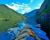 Norway Photography, Kayaking, Flam Print, Norwegian Fjord, Fine Art Prints, Landscape, Wall Art, Serene Photo, Water Reflections - The Kayak