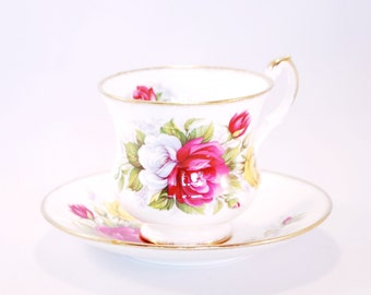 Vintage Roses cup and saucer from Royal Heritage porcelain, England