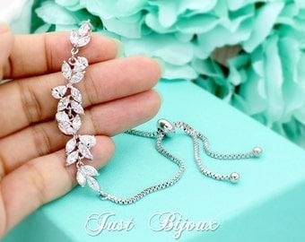 Wedding Bracelet Platinum Zirconia Bracelet Bridesmaid Bracelet Zirconia Bracelet Wedding Jewelry Bride Bridal Bracelet Bridal Jewelry Leaf